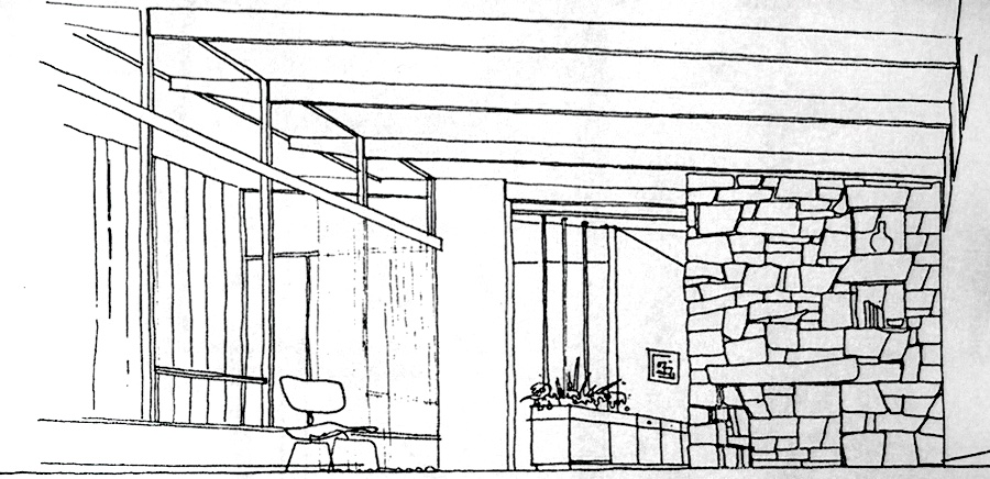 Design sketch of the living room looking east