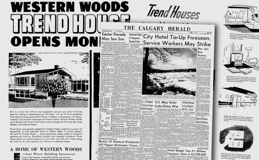 Calgary Herald May 1954 pages showing the advertisements for the Calgary Trend House
