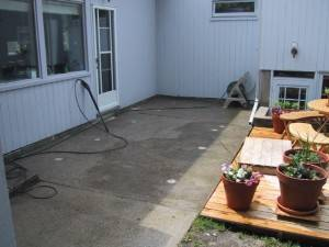 End result of pumpjacking the back patio slabs