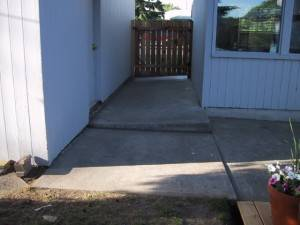 An image showing how the garage and patio slabs settled