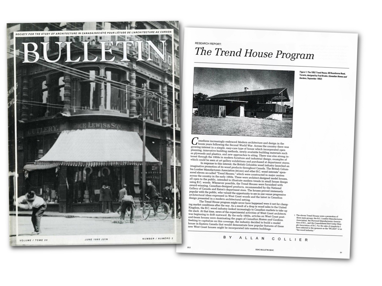 Image of SSAC Bulletin showing the article on the Trend House Program by Allan Collier
