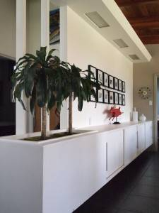 Built-in sideboard with planter and overhead lighting
