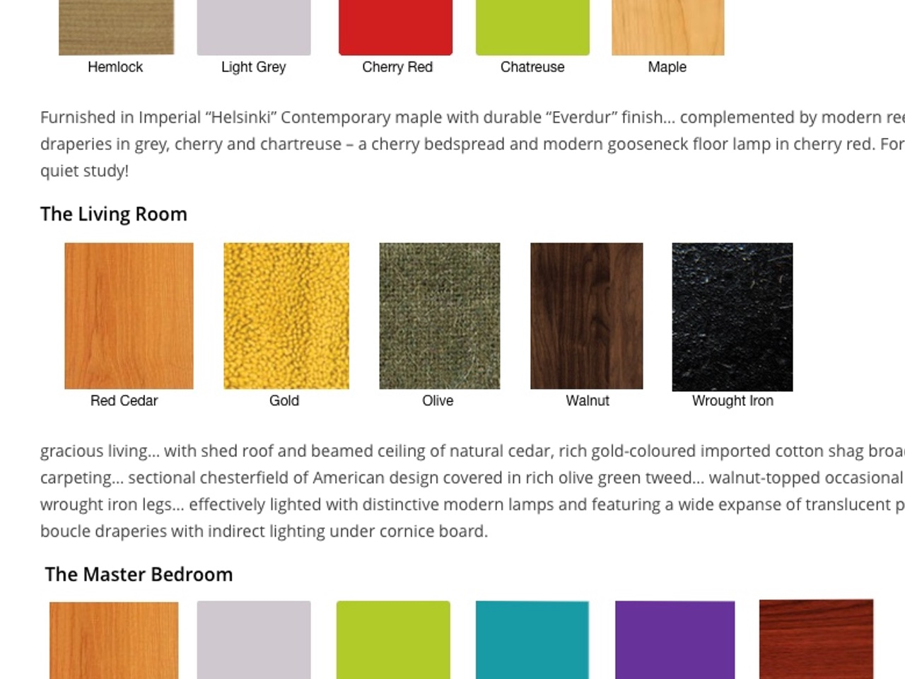 Materials and colours used in the original staging for the Calgary Trend House