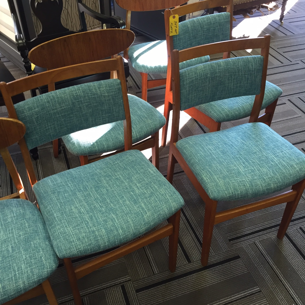 Image of dining room chairs refinished at upholsterers