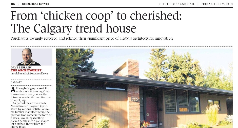 Globe & Mail headline for Calgary Trend House